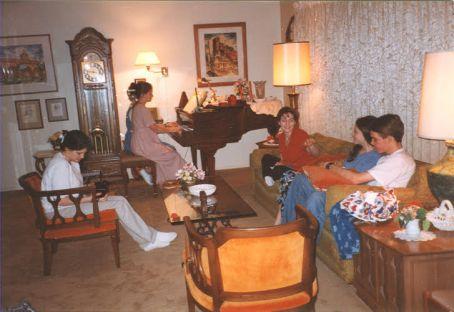 Amanda and Grandma playing the piano together, 1997?