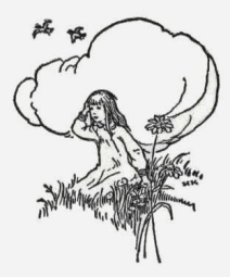 002-girl-sitting-in-grass-under-cloud-flower-birds-in-sky-public-domain