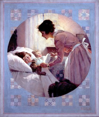 Rockwell__Mother_Tucking_Children_into_Bed_1921