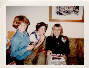 Sheryl's going away party 1970 Linda Guay, Cynthy and Sheryl